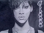 Rhythm And Blues Drawings Posters - Rihanna Poster by Lakeesha Mitchell