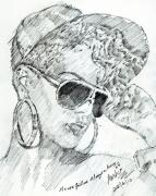 Portaits Drawings - Rihanna Rudegirl by Anshu Kaulitz