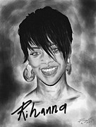 Kenal Louis Drawings Prints - Rihanna Smiles Print by Kenal Louis