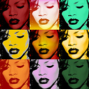 Warhol Digital Art Prints - Rihanna Warhol by GBS Print by Anibal Diaz