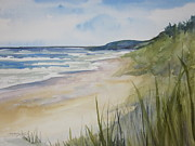 Great Painting Originals - Riley Beach Lake Michigan by Sandra Strohschein
