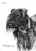 Charcoal Dog Drawing Drawings Posters - Riley Poster by Keith Burgess