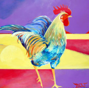 Farm Rooster Painting Framed Prints - Riley the Rooster Framed Print by Christine Belt