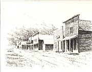 Towns Drawings - Rimini Ghost Town Montana by Kevin Heaney