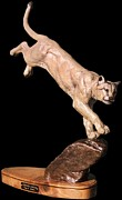 Lion Statue Sculpture Posters - Rimrock Rogue Poster by Peggy Detmers