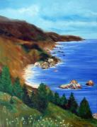 Cambria Paintings - Rinas Big Sur by Leonardo Ruggieri