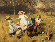 Rural Scenes Paintings - Ring of Roses by Frederick Morgan