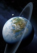 Planetary System Photos - Ringed Earth-like Planet, Artwork by Detlev Van Ravenswaay