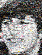 The Beatles Mixed Media Acrylic Prints - Ringo Starr Beatles Mosaic Acrylic Print by Paul Van Scott