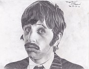 The Beatles Drawings Framed Prints - Ringo Starr Framed Print by Ethan Morehead