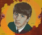 Pop Icon Drawings Posters - Ringo Starr Poster by Suzanne Gee