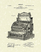 Antique Artwork Drawings Framed Prints - Ringold Cash Register 1904 Patent Art Framed Print by Prior Art Design