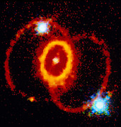 Stellar Remnant Prints - Rings Around Supernova Remnant Sn 1987a Print by Nasaesastscic. Burrows