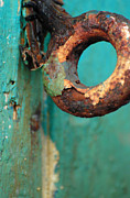 Turquoise And Brown Framed Prints - Rings of Rust and Blue Framed Print by AdSpice Studios
