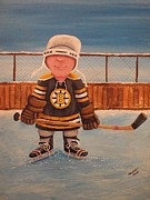 Youth Hockey Painting Originals - RinkRattz - Jonny - Boston  by Ron  Genest