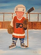 Pond Hockey Paintings - RinkRattz - Bruiser The Bully - Print by Ron  Genest