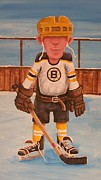 Hockey Player Painting Originals - RinkRattz - RG - Boston by Ron  Genest