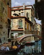 Boat Reflection Framed Prints - Rio Degli Squeri Framed Print by Guido Borelli