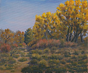 Grande Painting Framed Prints - Rio Grande Bosque Fall Framed Print by James Fieldson