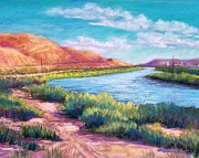 Southwest Landscape Pastels Metal Prints - Rio Grande from the South Metal Print by Candy Mayer