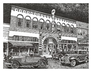 Theater Drawings Metal Prints - Rio Grande Theater Metal Print by Jack Pumphrey