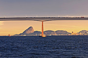 Rio De Janeiro Framed Prints - Rio-niteri Bridge And Sugar Loaf Framed Print by Antonello