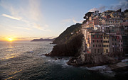 Cinque Terre Metal Prints - Riomaggio Sunset Metal Print by Mike Reid