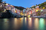 Illuminated Tapestries Textiles Metal Prints - Riomaggiore After Sunset Metal Print by Sebastian Wasek