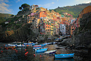 Cliffs Posters - Riomaggiore Boats Poster by Inge Johnsson