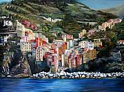 Cinque Terre Paintings - Riomaggiore Glory by Jennifer Lycke