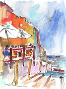 Italy Drawings - Riomaggiore in Italy 03 by Miki De Goodaboom