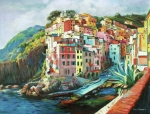 Fishing Village Painting Posters - Riomaggiore Italy Poster by Conor McGuire