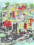Riomaggiore Italy Moucasso Painting Print by Ginette Fine Art LLC Ginette Callaway