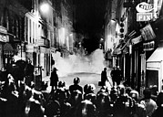 Rs2wn Prints - Riot Policemen At A Burning Barricade Print by Everett