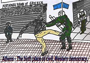 Editorial Cartoon Mixed Media - Riots on the Street of Athens by OptionsClick BlogArt