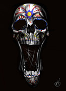 Skull Paintings - R.i.p by Pete Tapang