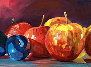 Featured Paintings - Ripe Plums and Apples by David Lloyd Glover