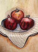 Jerusalem Paintings - Ripe Pomegranates . by Shlomo Zangilevitch