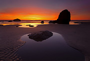 Cannon Beach Art - Ripples and Reflections by Mike  Dawson