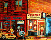 Montreal Streets Prints - Ripples Ice Cream Factory Print by Carole Spandau