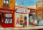 Montreal Neighborhoods Paintings - Ripples Icecream  by Carole Spandau