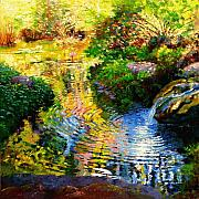 Nature Scene Paintings - Ripples on a Quiet Pond by John Lautermilch