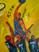 Basketball Paintings - Rise Above It by Jason JaFleu Fleurant