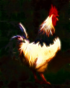 Cock-a-doodle-doo Posters - Rise and Shine Early Morning Rooster - Electric Poster by Wingsdomain Art and Photography