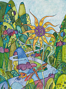 Flower Center Paintings - Rise and Shine by Tanielle Childers