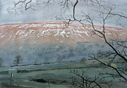 Mountain Snow Landscape Paintings - Rise Hill in December by John Cooke