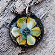 Boro Jewelry - Rise to the Top Tiger Lily Borosilicate Implosion Pendant by Paula McDonough
