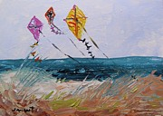 Kites Drawings - Rising Above the Dune by John  Williams