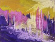 Violet Art Pastels Prints - Rising Against Yellow Print by John  Williams