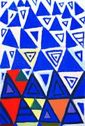 Rising Blue Triangles Print by Kazuya Akimoto